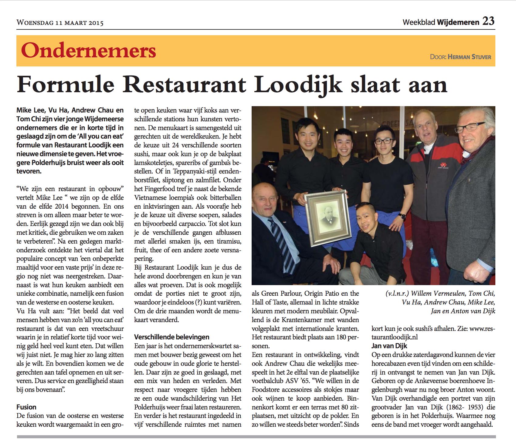 Formule Restaurant Loodijk slaat aan